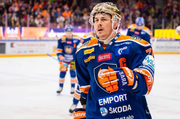 Kristian Kuusela sai syöttöpisteen lauantaina Tappara-HPK-ottelussa.