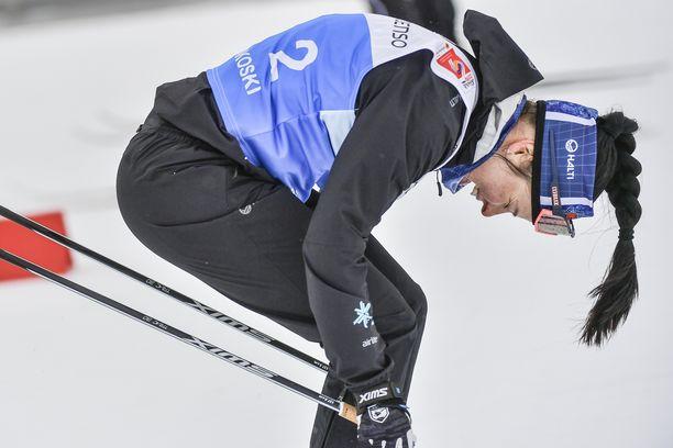 Krista Pärmäkoskella oli rankka keikka Alpeilla. Kuva perjantain treeneistä.