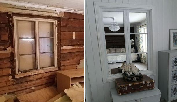 Mökin tuvan seinän sisältä löytyi vanha ruutuikkuna, joka oli joskus levytetty umpeen. Mikkola maalasi pokat ja vaihtoi lasien tilalle peilit.