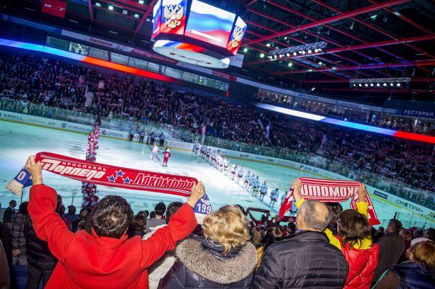 Venäläinen patrioottisuus kuuluu Lokomotivin kotiotteluihin - kuten KHL:n muidenkin venäläisseurojen.