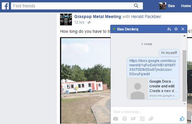 Ystävä lähetti linkin asiakirjaan itselleen, mutta ei De Ceukelairelle. Näin Facebookin hakurobotti tallensi sen.