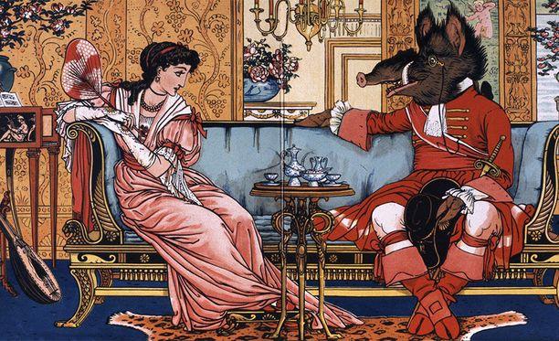 Myös hirviön ulkonäköä on hieman muunneltu Disneyn versioissa. Kuvassa Walter Cranen kuvitusta 1800- ja 1900-lukujen vaihteesta.