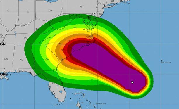 Tämä kuva näyttää, millä voimalla hurrikaani Florence tulee iskemään.
