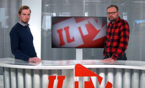 Rikos- ja oikeustoimittaja Solmu Salminen (vas.) ja politiikan ja talouden toimittaja Mika Koskinen keskustelevat viikonlopun vakavista seksuaalirikostutkinnoista.