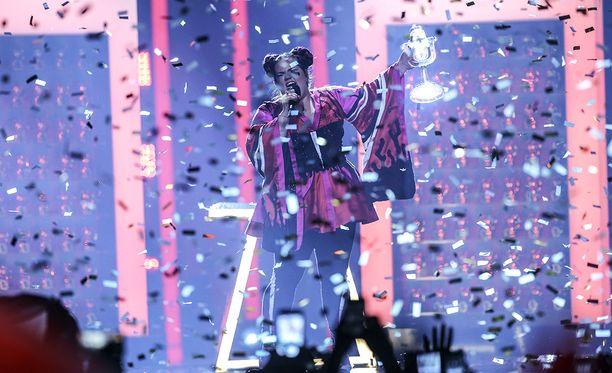 Israelilainen Netta voitti Euroviisut viime keväänä Lissabonissa.