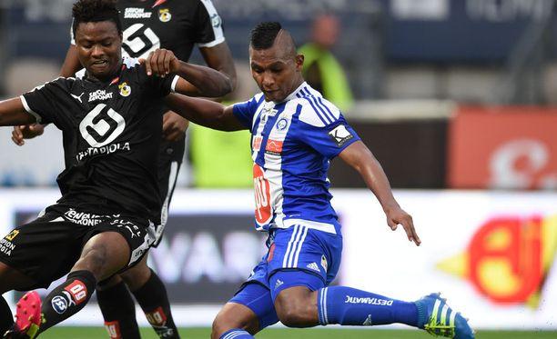 Alfredo Morelos teki HJK:lle tärkeän 1-0-voittomaalin.