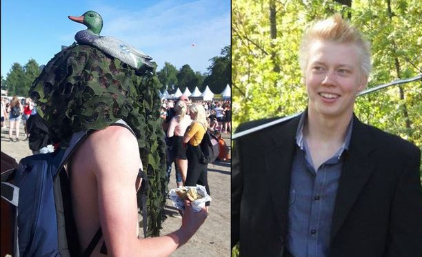 Timmi Tuutti juhli viime vuonna Ruisrockissa sorsasnorkkeli päässään.