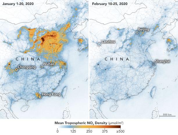 Tammikuun alun ja helmikuun puolenvälin typpidioksidipitoisuuksissa on valtava ero.