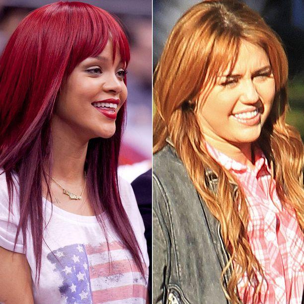 Rihanna on viihtynyt sokkipunaisessa tukassaan jo pidemmän aikaa ja hiusvärin kritisoijiakin löytyy. Miley Cyrus puolestaan vaihtoi brunetista punaiseen vasta hiljattain.