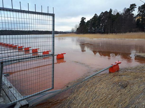 Espoon Laurinlahden ranta lainehti tänään punaisena.