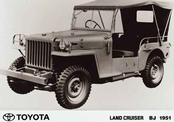 Toyota-Jeep 50-luvun alussa muuntui pian Land Cruiseriksi. Jeep-nimi oli jo käytössä...