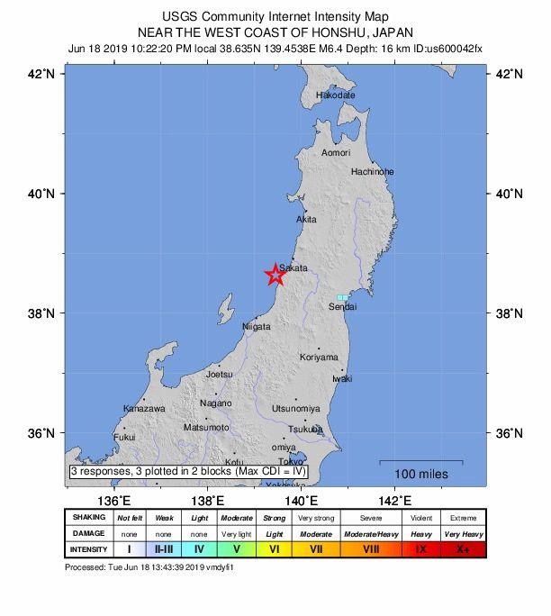 Maanjäristys tapahtui Honshun saarella.