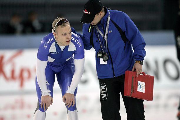Pekka Koskela ja valmentaja Janne Hänninen vuoden 2007 MM-kisoissa Norjan Hamarissa.