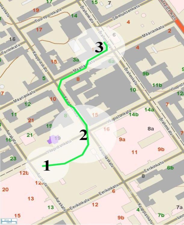 Poliisin julkaisema karttakuva havainnollistaa tapahtumien etenemistä Turun keskustassa.