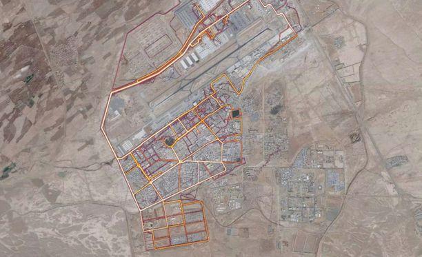 """Ruutukaappaus Stravan """"lämpökartasta"""". Kuvassa on USA:n lentotukikohta Kandaharissa Afganistanissa."""