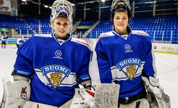 Meeri Räisänen (vas.) ja Anni Keisala aloittivat yhdessä leirin Rovaniemellä, mutta Räisänen lähti kotiin tiistaina.