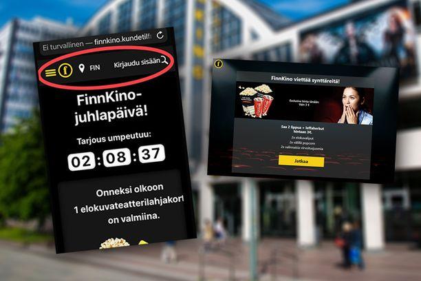 Finnkino varoittelee huijausviesteistä.