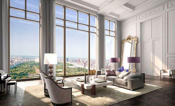 Tällaisen näkymät avautuvat ylemmistä kerroksista. Ikkunat ulottuvat lattiasta kattoon.