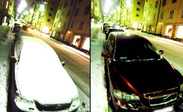 Yrittäjiä hauskuutti putsattujen ja lumisten autojen kontrasti.