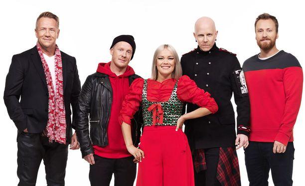 Olli Lindholm, Redrama, Anna Puu ja Toni Wirtanen toimivat laulukisan tähtivalmentajina, Heikki Paasonen juontaa.