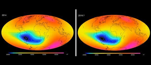 """Vähittäinen muutos. Vuoden 2014 (vasemmalla) ja 2019 (oikealla) havaintojen vertailu osoittaa, että magneettikentän """"reikä"""" on jo jakaantunut kahdeksi paikalliseksi minimiksi, mutta muutos on vähittäistä. Kuvakaappaus Esan videolta."""