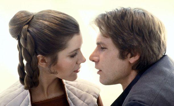 Prinsessa Leia ja Han Solo 40 vuotta sitten.