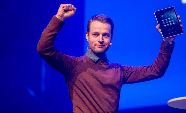 Sebastian Nyström esitteli uutta tablettia tiistaina Slushissa.