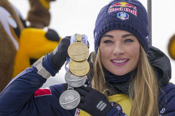 Dorothea Wierer saavutti viime talvena Antholzissa neljä MM-mitalia.