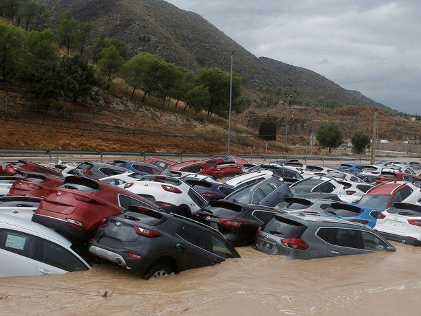 Kovien rankkasateiden aiheuttamat tulvavedet vievät autoja mennessään Espanjan Alicantessa.