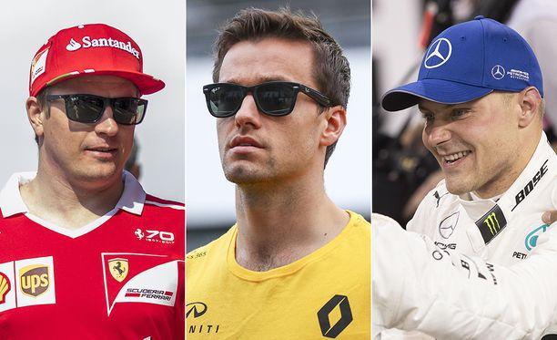 Jolyon Palmer (keskellä) ei luota Kimi Räikkösen eikä Valtteri Bottaksen vauhtiin.