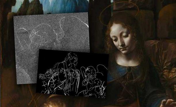 Da Vincin maalauksen hahmotelma on hyvin erilainen lopputulokseen verrattuna.
