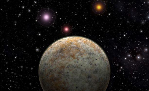 Taiteilijan näkemys eksoplaneetasta, eli Maan kaltaisesta planeetasta, jolla voisi olla elämää.