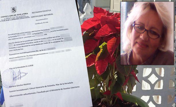 Espanjassa vakituisesti asuva Eiju Norri joutui yllätyksekseen todistamaan että on elossa. Todistusta tarvittiin Suomessa kuolleen veljen perunkirjoitusta varten.