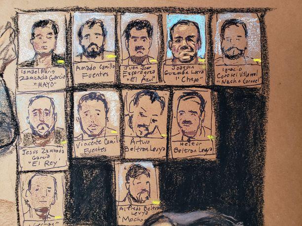Oikeusistunnoissa käsitellään Sinaloan kartellin hierarkiaa.