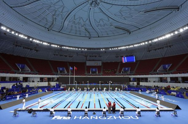Michelle Colemanin mukaan Hangzhoun uintikeskuksessa on vaikea uida selkää, koska katto on niin erikoinen.