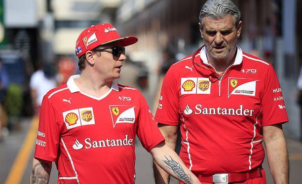 Kimi Räikkönen ja Maurizio Arrivabene tulevat hyvin toimeen keskenään. Saksalaistietojen mukaan F1-nestori Räikkönen pysyy Maranellossa Arrivabeneä pidempään.