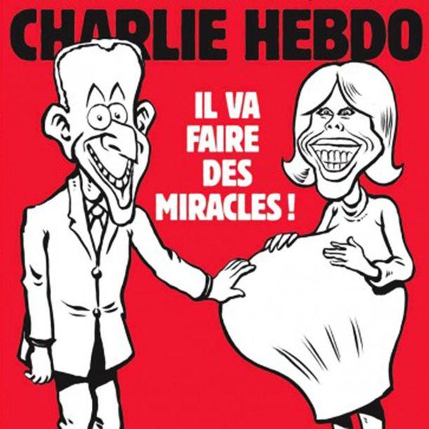 Satiirinen Charlie Hebdo -lehti pilailee pariskunnan ikäeron kustannuksella.