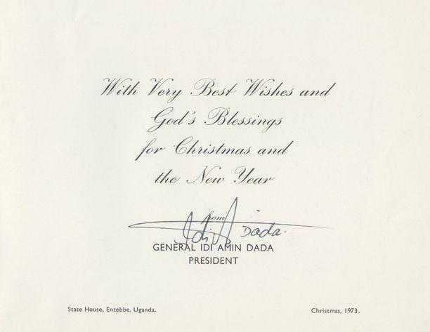 Ugandan hirmuhallitsija Idi Amin toivottaa Urho Kekkoselle vuonna 1973 Jumalan siunausta jouluksi ja uudeksi vuodeksi.