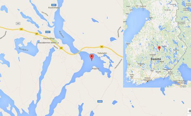 Onnettomuus sattui Toholahdella Rautalammin keskustan vieressä.