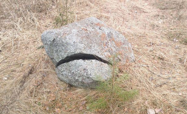 Kivi on haljennut ja muistuttaa surkeaa ilmettä.