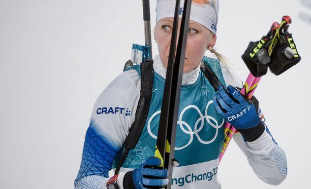 Kaisa Mäkäräinen ei onnistunut toivomallaan tavalla Pyeongchangin olympiakisoissa helmikuussa.