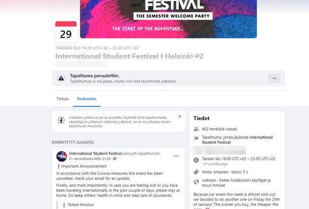 Kuvakaappauksessa näkyy Helsingin tapahtuman Facebook-sivu.