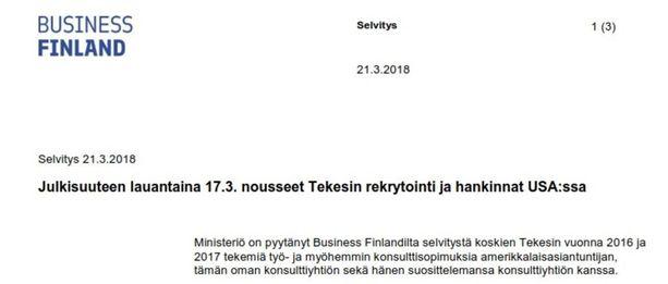 Business Finland toimitti selvityksensä työ- ja elinkeinoministeriölle viime viikolla.