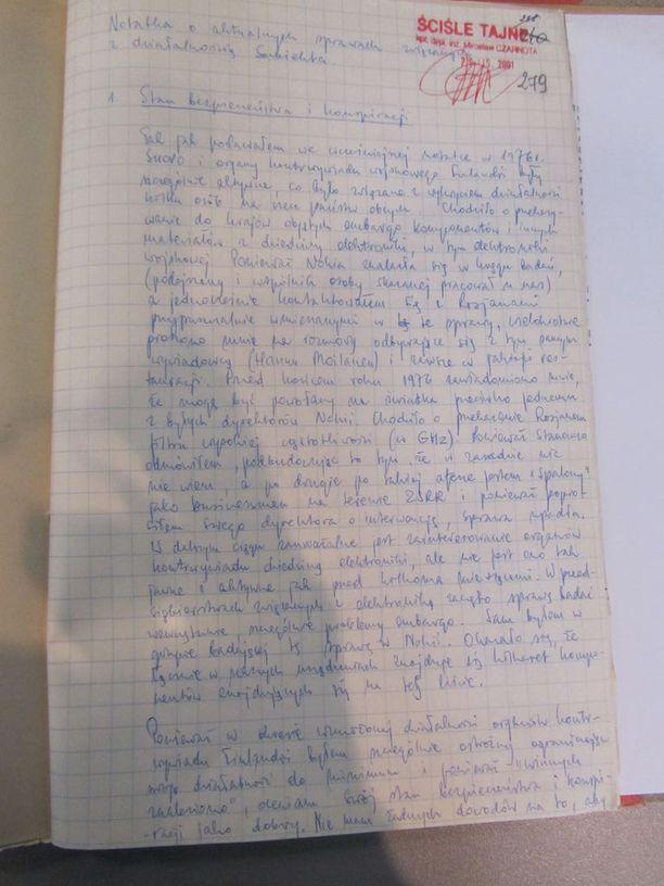 SUBIEKTIN Puolan sotilastiedustelulle kirjoittama raportti vuodelta 1977. Siinä käsitellään mm. yhteyksiä Supon suuntaan ja Nokian asioita.