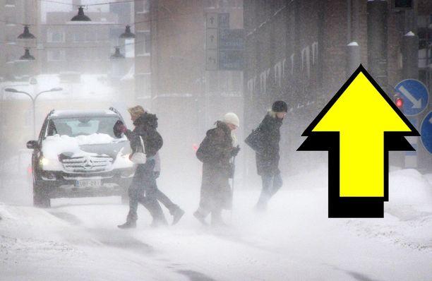 Lumisateella on tällä viikolla kirjava joukko suuntavektoreita. Arkistokuva.