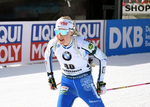 Kaisa Mäkäräinen täräytti nopeimman hiihtoajan sunnuntaina Alpeilla.