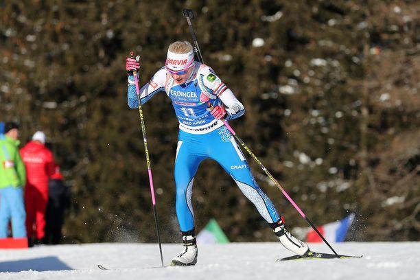 Kaisa Mäkäräinen on tänä viikonloppuna kilpaillut Italiassa Etelä-Tirolin Anterselvassa.