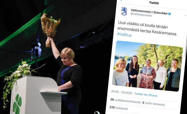 Tiede- ja kulttuuriministeri Annika Saarikko valittiin lauantaina keskustan uudeksi puheenjohtajaksi.