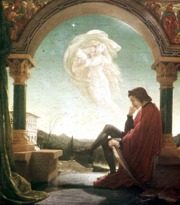 Joseph Noel Patonin maalauksessa Dante unelmoi ihanasta Beatricesta.