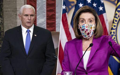 """Varapresidentti Mike Pence vastustaa Trumpin syrjäyttämistä – Nancy Pelosi patistaa toimimaan: """"Erittäin vaarallinen henkilö"""""""